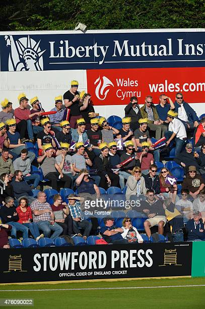 Fans watch the action during the NatWest T20 Blast between Glamorgan and Middlesex at SWALEC Stadium on June 5 2015 in Cardiff Wales