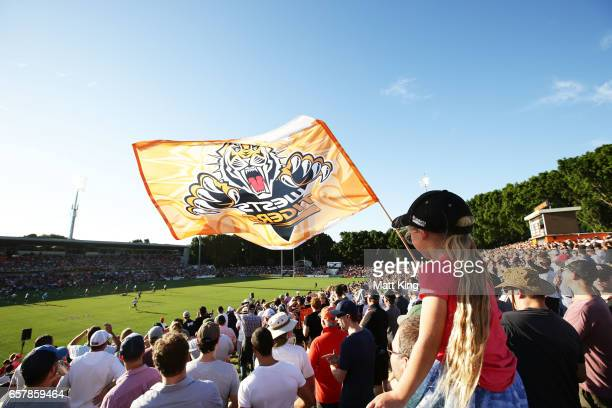 Fans watch the action during the round four NRL match between the Wests Tigers and the Melbourne Storm at Leichhardt Oval on March 26 2017 in Sydney...
