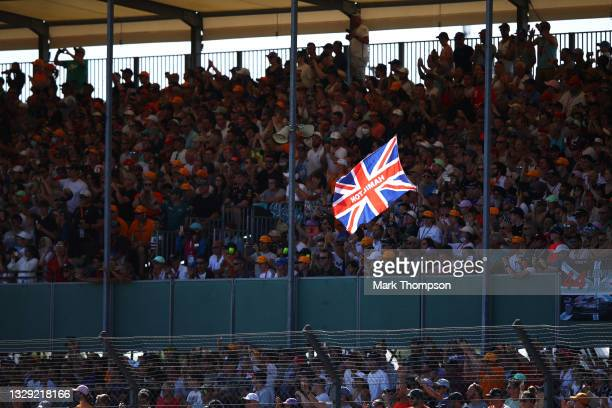 Fans watch the action during the Sprint for the F1 Grand Prix of Great Britain at Silverstone on July 17, 2021 in Northampton, England.