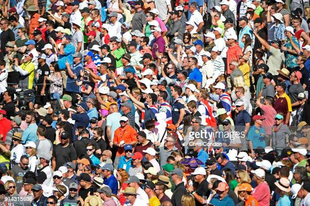 Fans watch the action on the 11th hole during the final round of the Waste Management Phoenix Open at TPC Scottsdale on February 4 2018 in Scottsdale...