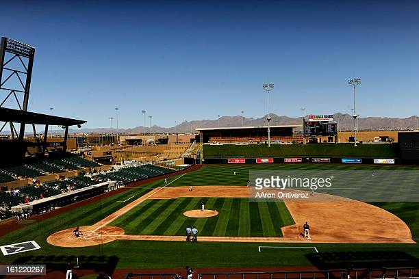Fans watch the Colorado Rockies during a spring training intra squad game at Salt River Fields at Talking Stick in Scottsdale Arizona on Friday March...