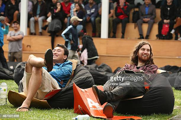 Fans watch the Cricket World Cup semi final between South Africa and New Zealand at Britomart's Fanzone on March 24 2015 in Auckland New Zealand