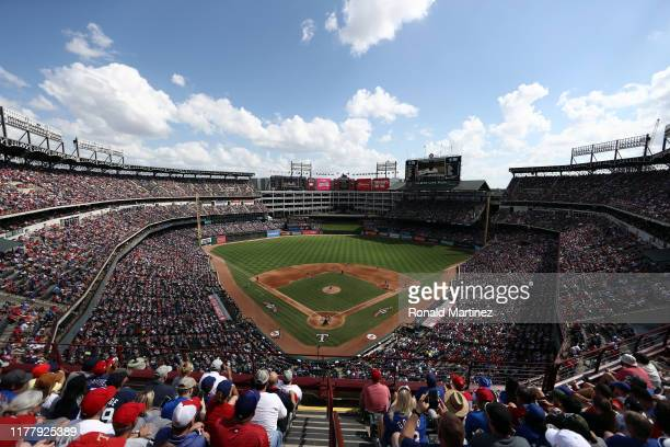 Fans watch the final game at Globe Life Park in Arlington between the New York Yankees and the Texas Rangers on September 29, 2019 in Arlington,...