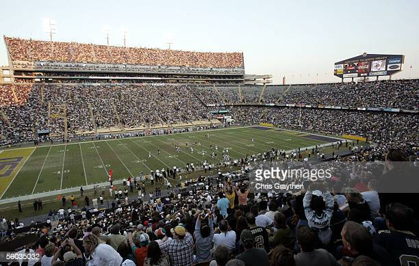 Fans watch the first New Orleans Saints game on October 30, 2005 at Tiger Stadium on the Louisiana State University campus in Baton Rouge, Louisiana....