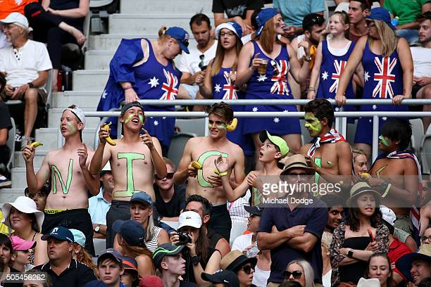 Fans watch the first round match between Nick Kyrgios of Australia and Pablo Carreno Busta of Spain during day one of the 2016 Australian Open at...