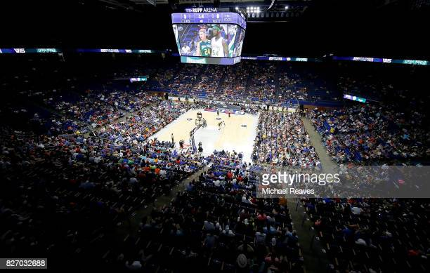 Fans watch the game between the 3 Headed Monsters and the Ball Hogs during week seven of the BIG3 three on three basketball league at Rupp Arena on...