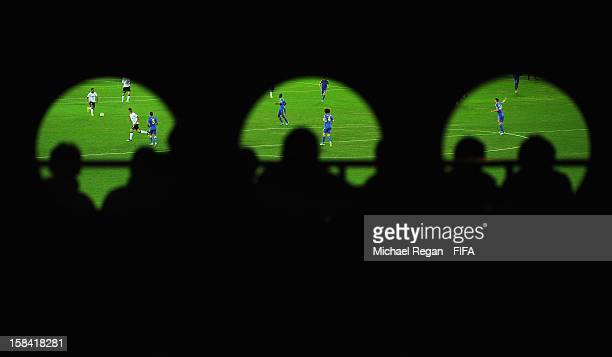Fans watch the game during the FIFA Club World Cup Final Match between Corinthians and Chelsea at the International Stadium Yokohama on December 16...