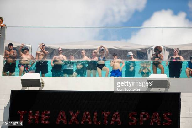 Fans watch the game from the pool during the game between the New York Jets and the Jacksonville Jaguars on September 30, 2018 at TIAA Bank Field in...