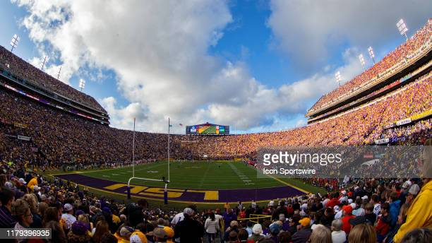 Fans watch the game from the stands during a game between the LSU Tigers and the Auburn Tigers in Tiger Stadium in Baton Rouge, Louisiana on October...