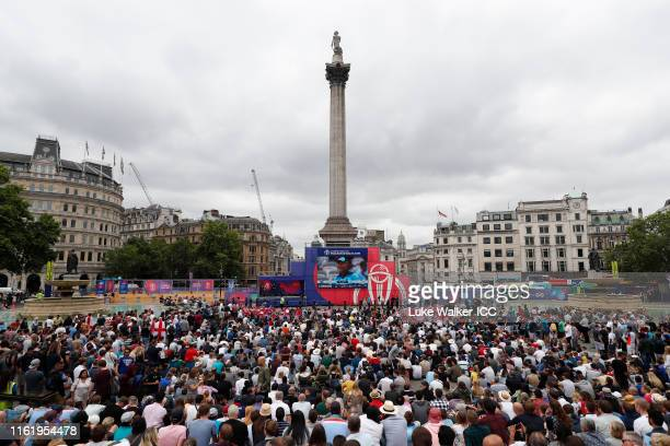 Fans watch the ICC Cricket World Cup Final on the big screen at the London fanzone at Trafalgar Square during the ICC Cricket World Cup 2019 on July...