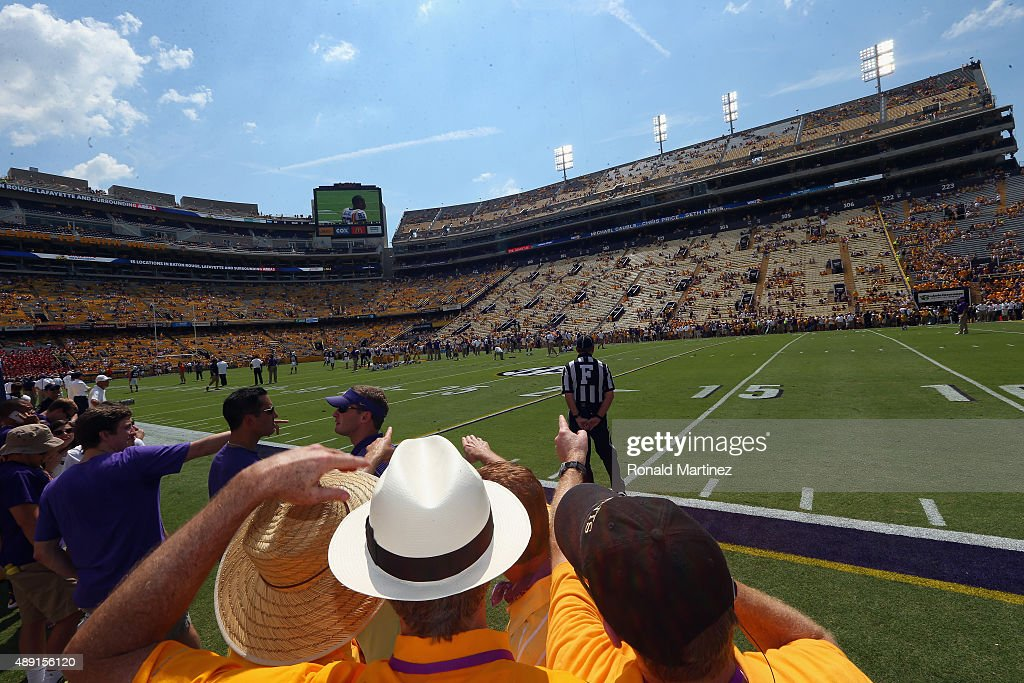 Fans watch the LSU Tigers warm up before a game against the Auburn Tigers at Tiger Stadium on September 19, 2015 in Baton Rouge, Louisiana.
