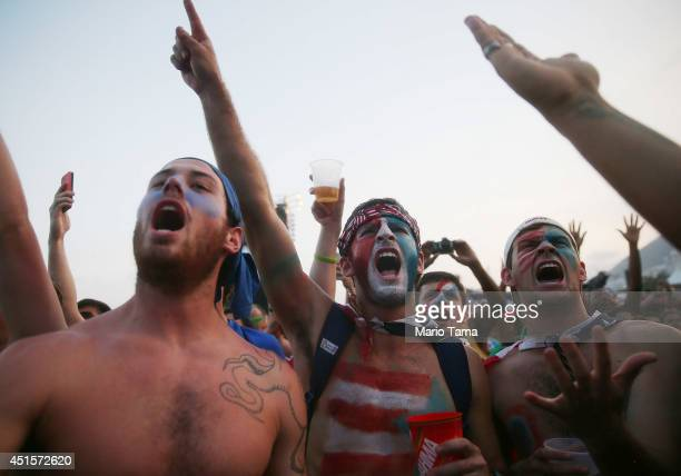 S fans watch the match against Belgium at FIFA Fan Fest on Copacabana Beach on July 1 2014 in Rio de Janeiro Brazil The match is tied 00 at halftime