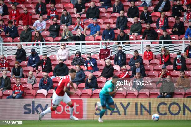 Fans watch the match from their socially distanced seats during the Sky Bet Championship match between Middlesbrough and AFC Bournemouth at Riverside...