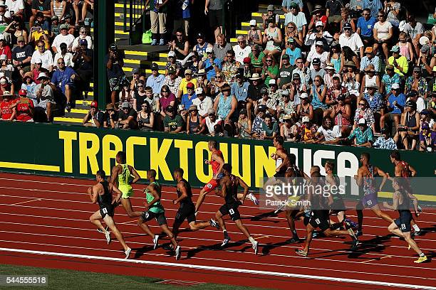 Fans watch the Men's Decathlon 1500 Meters during the 2016 US Olympic Track Field Team Trials at Hayward Field on July 3 2016 in Eugene Oregon