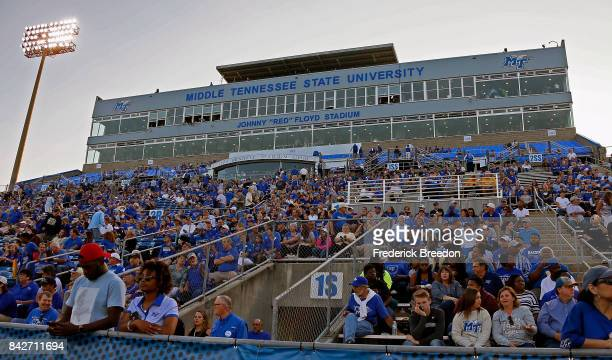 Fans watch the Middle Tennessee State University Blue Raiders during a 286 loss to the Vanderbilt Commodores at Floyd Stadium on September 2 2017 in...