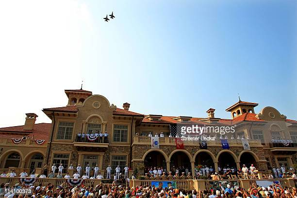 Fans watch the Military Appreciation Ceremony in front of the clubhouse held at THE PLAYERS Stadium course at TPC Sawgrass on May 11, 2011 in Ponte...