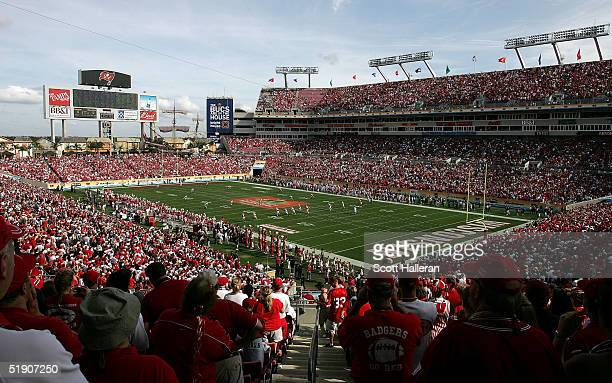 Fans watch the opening kickoff against Georgia during the Outback Bowl on January 1 2005 at Raymond James Stadium in Tampa Florida