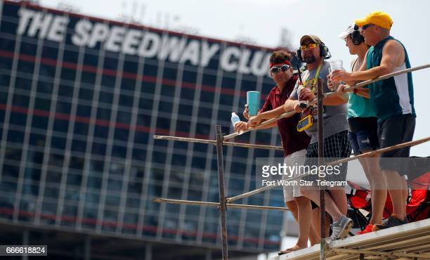 NASCAR fans watch the O'Reilly Auto Parts 500 from the infield on Sunday April 9 2017 at Texas Motor Speedway in Fort Worth Texas