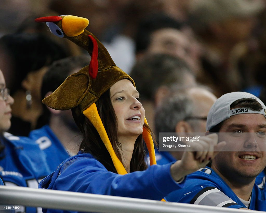 Fans watch the Philadelphia Eagles and Detroit Lions play during the annual Thanksgiving Day Game at Ford Field on November 26, 2015 in Detroit, Michigan.