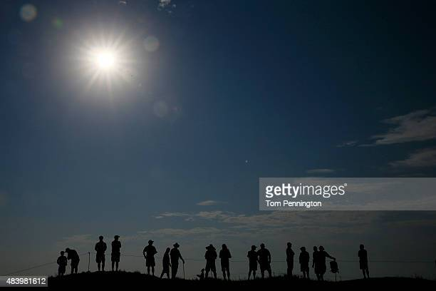 Fans watch the play during the second round of the 2015 PGA Championship at Whistling Straits on August 14 2015 in Sheboygan Wisconsin