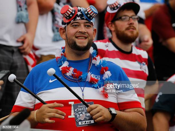 Fans watch the pregame before an international friendly game between USA and Ghana at Pratt Whitney Stadium on July 1 2017 in East Hartford...