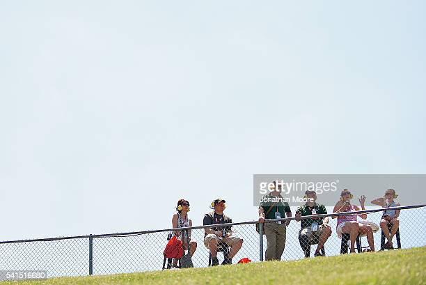 Fans watch the race during the NASCAR XFINITY Series American Ethanol E15 250 Presented by Enogen at Iowa Speedway on June 19 2016 in Newton Iowa