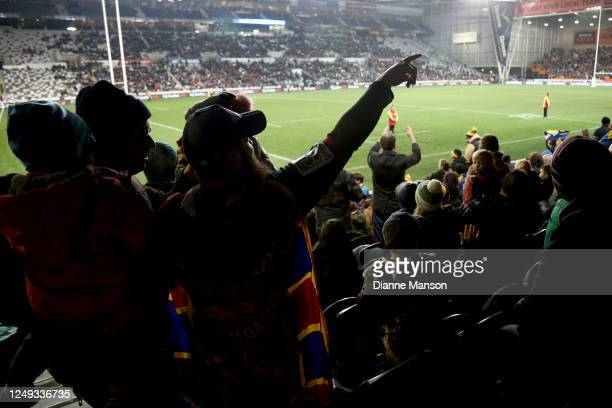 Fans watch the round 1 Super Rugby Aotearoa match between the Highlanders and Chiefs at Forsyth Barr Stadium on June 13, 2020 in Dunedin, New Zealand.