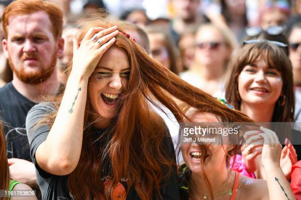 Fans watch the Sam Fender perform on the main stage during the TRNSMT Festival at Glasgow Green on July 13 2019 in Glasgow Scotland Tens of thousands...