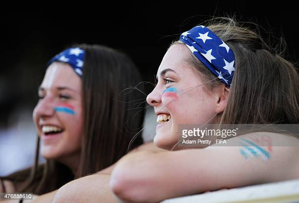 USA fans watch the teams warm up before the Group D matches between Australia and Nigeria and USA and Sweden of the FIFA Women's World Cup 2015 at...