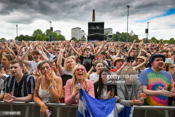Fans watch the The Amazons perform on the main stage during the TRNSMT Festival at Glasgow Green on July 14, 2019 in Glasgow, Scotland. A sold out...