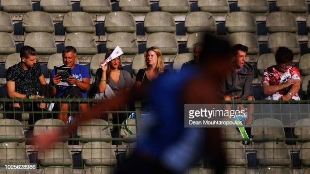 Fans watch the women's discus throw during the IAAF Diamond League AG Memorial Van Damme at King Baudouin Stadium on August 31 2018 in Brussels...