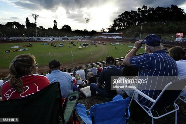 Fans watch the World Midget Series at the Western Springs Speedway Auckland New Zealand January 22 2005 This was the last event of the season held at...