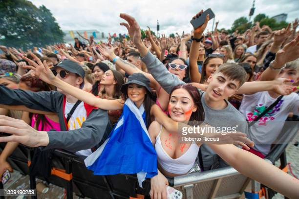 Fans watch Yxng Bane performing on the main stage during the first day of TRNSMT Festival 2021 on September 10, 2021 in Glasgow, Scotland.