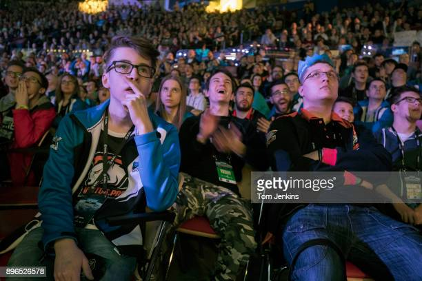 Fans watching a killing in the game on the big screens during the Intel Extreme Masters CounterStrike esports tournament being held in the Spodek...