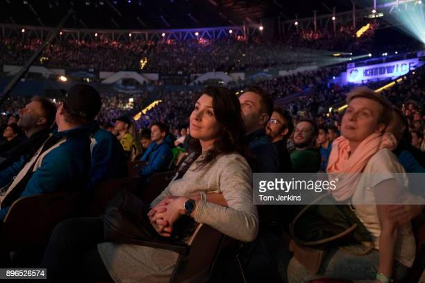 Fans watching the action on the big screen during the Intel Extreme Masters CounterStrike esports tournament being held in the Spodek Arena in...