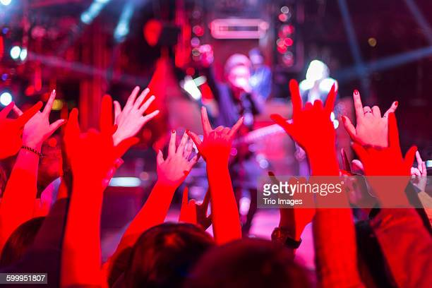 fans watching the band playing music