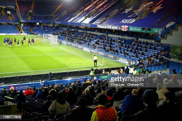 Fans watching the game during the Premier League match between Chelsea and Leeds United at Stamford Bridge on December 05, 2020 in London, England. A...