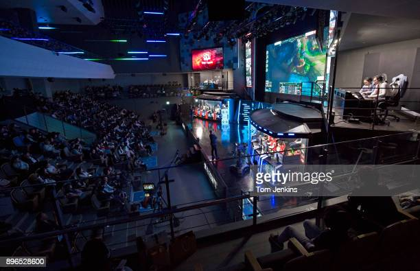 Fans watching the League of Legends esports match between Rox Tigers and SK Telecom at the Seoul Esports Stadium in Seoul on March 29th 2017 in South...