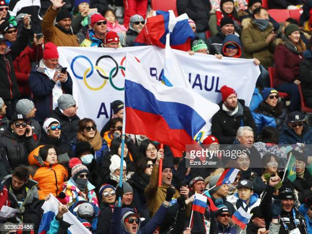 Fans wave a Russia flag during the Alpine Team Event on day 15 of the PyeongChang 2018 Winter Olympic Games at Yongpyong Alpine Centre on February 24...