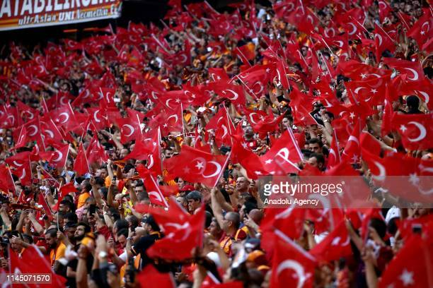 Fans wave flags of Turkey on the occasion of 100th anniversary of May 19 Commemoration of Ataturk, Youth and Sports Day, ahead of Turkish Super Lig...