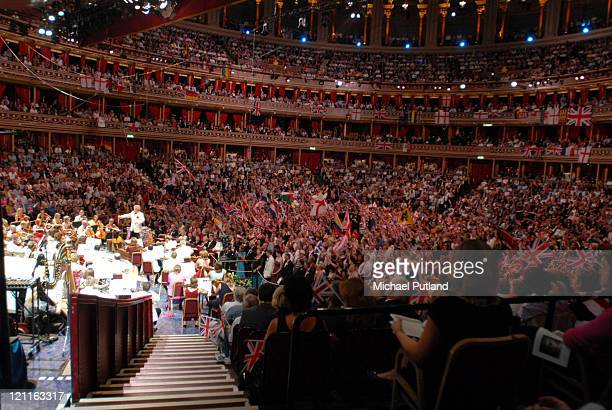 Fans waving flags in the auditorium during the last night of the Proms at the Royal Albert Hall 2007