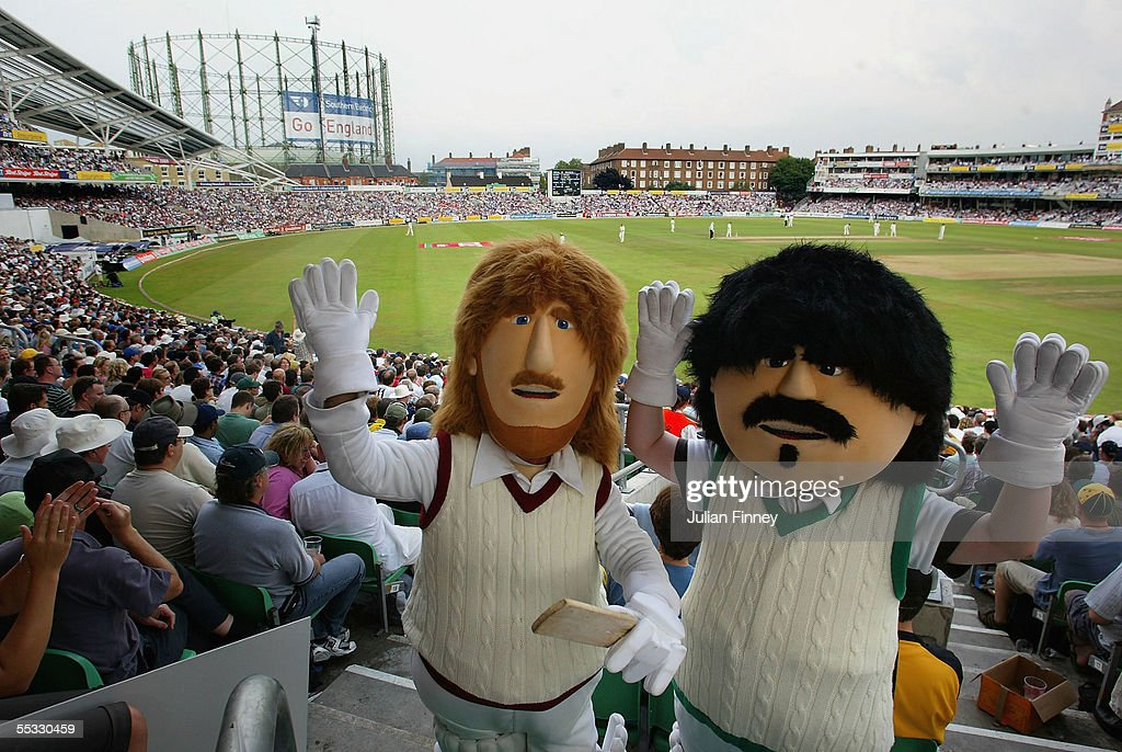 Fans wearing dressed as the characters 'Beefy' and 'Lamby' wave as they enjoy day three of the fifth npower Ashes Test match between England and Australia at the Brit Oval on September 10, 2005 in London, England. 'Beefy' and 'Lamby' were characters from the TV adverts for British Beef & Lamb based on the legendary 1980's England Cricketers Allan Lamb and Ian Botham.