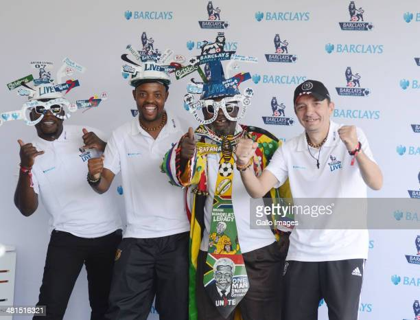 Fans wearing Makarapa hats during the Barclays Premier League Live event on March 30 2014 in Johannesburg South Africa