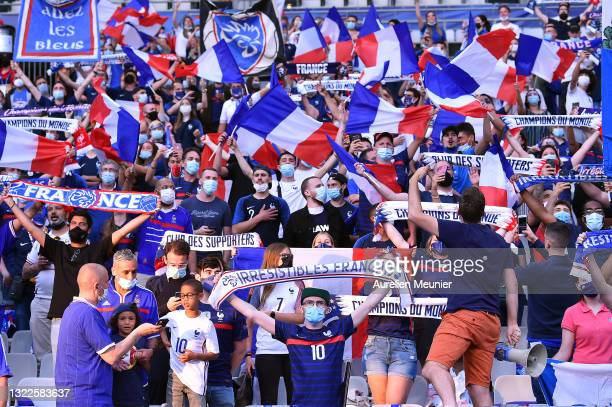 Fans were allowed in the stadium during the international friendly match between France and Bulgaria at Stade de France on June 08, 2021 in Paris,...