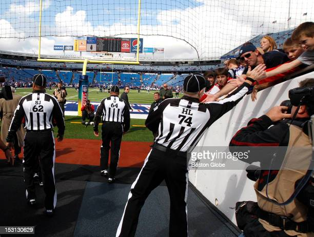Fans were happy to see the regular referees on the field as the Patriots took on the Buffalo Bills at Ralph Wilson Stadium
