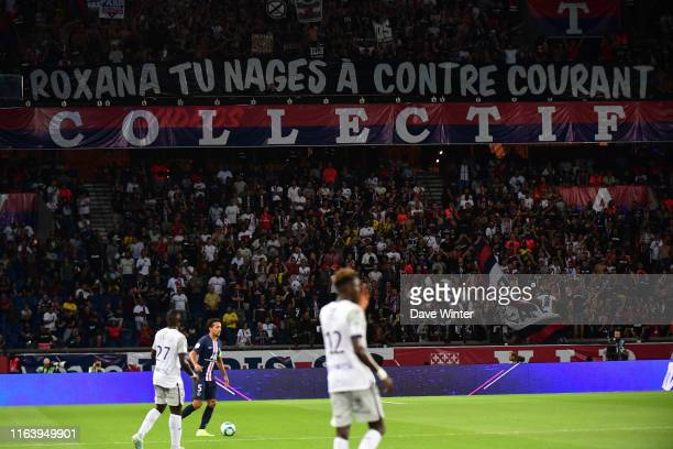 PSG fans with a banner against French sports minister Roxana Maracineanu a former Olympic swimmer during the Ligue 1 match between Paris Saint...