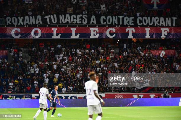 PSG fans with a banner aimed at French sports minister Roxana Maracineanu a former Olympic swimmer during the Ligue 1 match between Paris Saint...