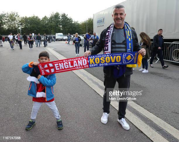 fans with a half and half scarf before the UEFA Euro 2020 qualifier match between England and Kosovo at St Mary's Stadium on September 10 2019 in...