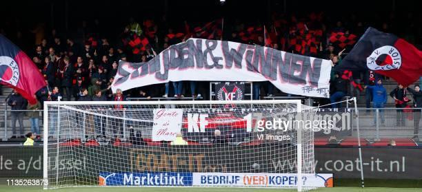 Fans with banner Strijden en Winnen during the Dutch Eredivisie match between sbv Excelsior Rotterdam and NAC Breda at Van Donge & De Roo stadium on...