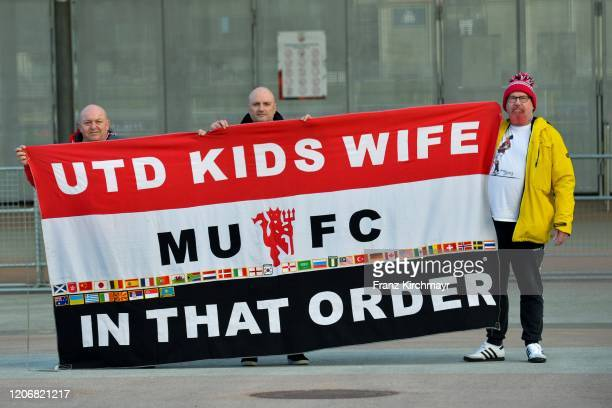 Fans with banners during the Group D UEFA Europa League match between LASK and Manchester United at Stadion der Stadt Linz on March 12 2020 in Linz...